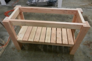 table with lower shelf and stretchers added