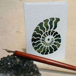 green ammonite greeting card